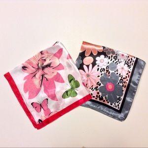 Silk Bandana Scarves Bundle 2 Flowers Butterflies